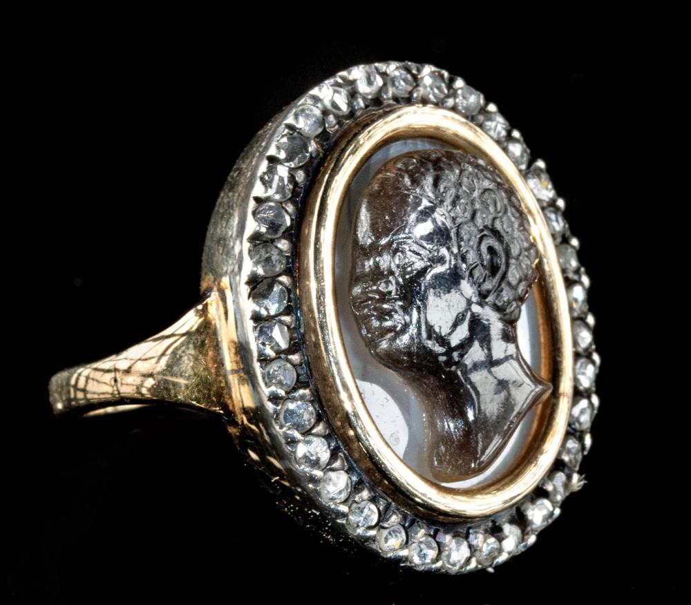 Neoclassical Gold, Diamond & Banded Agate Cameo Ring