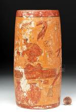 Mayan Pottery Polychrome Cylinder Vase