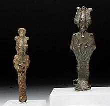Lot of 2 Egyptian Bronze Osiris Figures