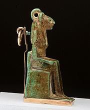 Rare Egyptian Feldspar Seated Sekhmet Amulet