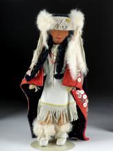 20th C. Tlingit Wood, Hide, & Fur Female Doll