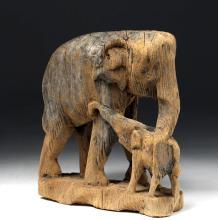 19th C. Southeast Asian Wood Elephant w/ Calf