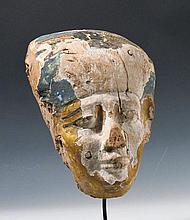 Egyptian Painted Wood Sarcophagus Mask