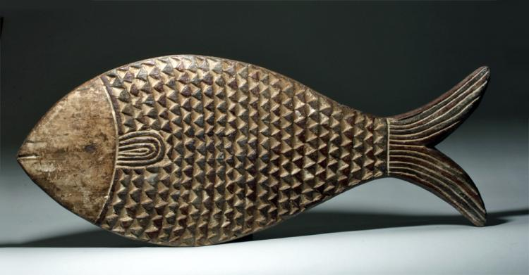 Large 20th c african burkina faso wood fish mask for African rope fish
