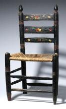 1940S Mexican Painted Wood Chair, Woven Straw Seat