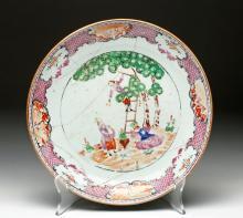 18th C. Qianlong Porcelain Plate - Apple Picking Scene