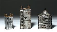 Lot of 3 USA Cast Iron Skyscraper Still Banks