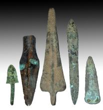 Collection of Five Ancient Near East Bronze Weapons