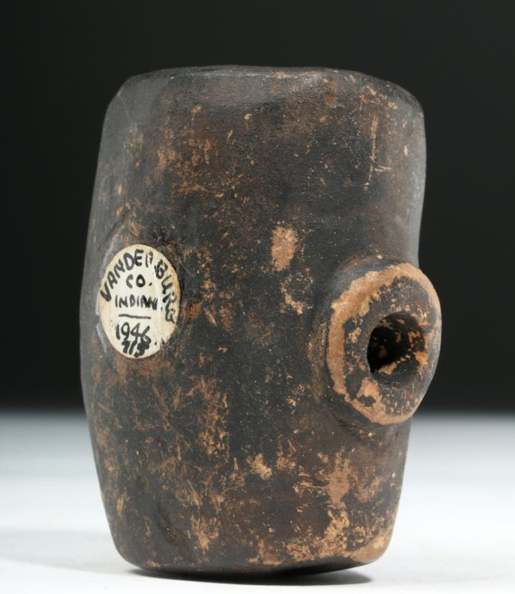 Decorative Clay Pipe : Prehistoric native american clay pipe human form