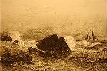 Waves Beating Rocks with Sailboat