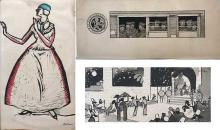 Set of 3 drawings by George Illian