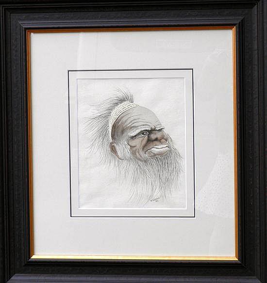 W. GLENNIE (Aboriginal Study) Watercolour on paper