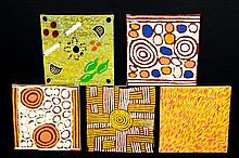 A group of 5 Aboriginal paintings by various artists