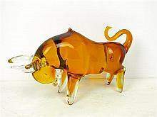A hand made designer art glass Bull sculpture