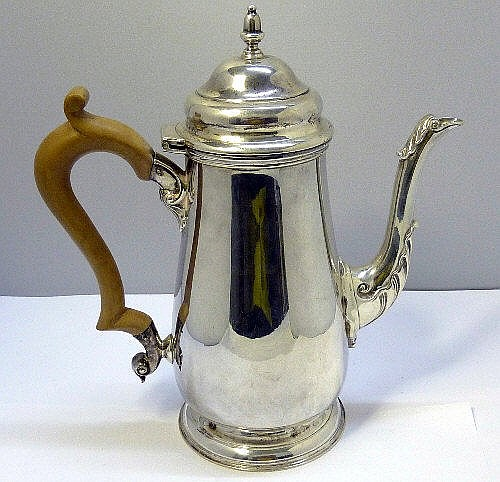 A silver coffee pot, makers initials W & W, London