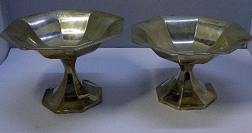 Two Edward VII silver octagonal pedestal bowls,