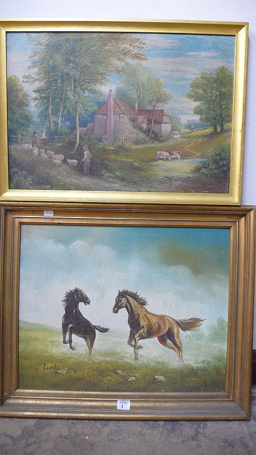 Lenke, playful stallions, oil on canvas and W.