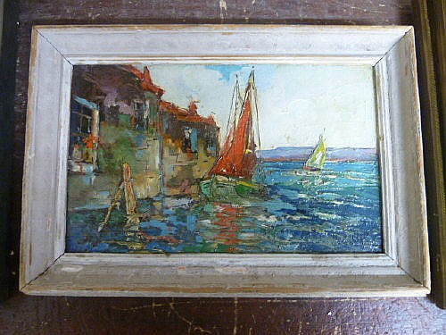 20th Century Italian School, landscape with boats