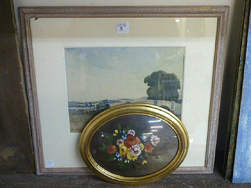 A.J. Giles, river landscape, watercolour and a