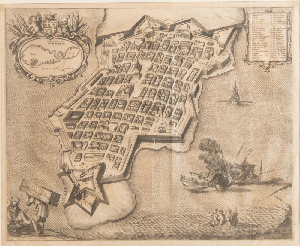 """""""Veduta a volo d'uccello della città de La Valletta, Malta"""". Al retro reca cartiglio della Garisenda Antiquariato Libri e Stampe, Bologna con firma."""