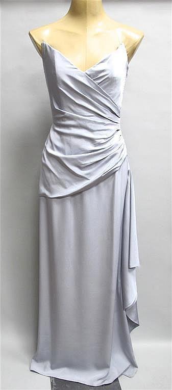 lanvin robe longue du soir grise en jersey de soie bustier. Black Bedroom Furniture Sets. Home Design Ideas