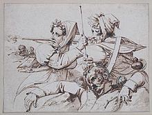 Attribué à Horace VERNET (1789-1863). Femme tirant