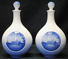 Pair of Royal Copenhagen porcelain bottles