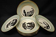 Set of 8 Royal Copenhagen plates with silhouettes