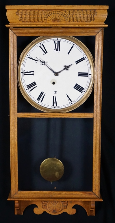 Sessions Pressed Oak Regulator Wall Clock
