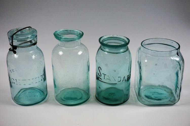 4 Assorted Antique Aqua Glass Canning Fruit Jars
