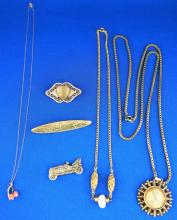 ASSORTED GOLD FILLED COSTUME JEWELRY