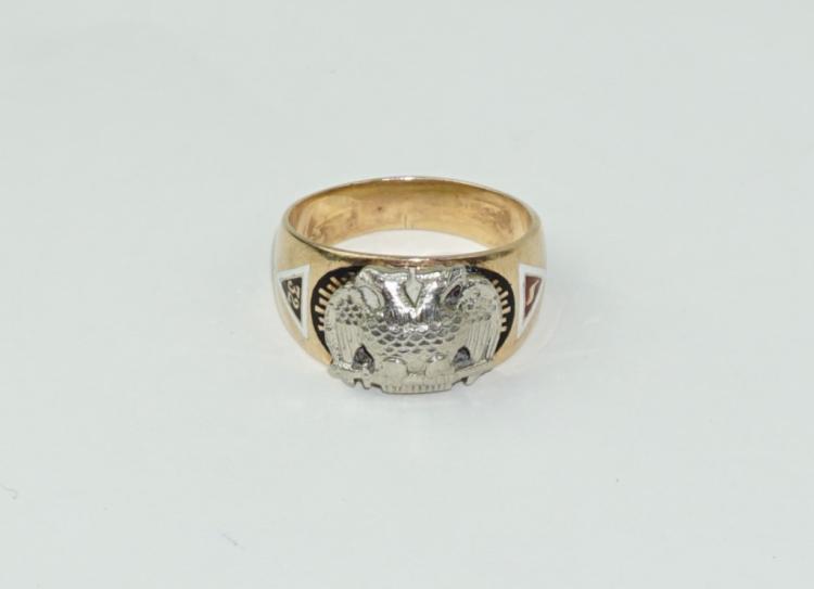 fd53ba4243804 10K GOLD 32ND DEGREE MASONIC SCOTTISH RITE RING