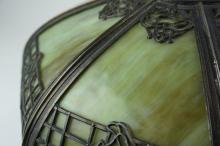 ANTIQUE LEADED SLAG GLASS LAMP SHADE
