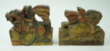 2pcs ANTIQUE CARVED WOOD ARCHITECTURAL SALVAGE