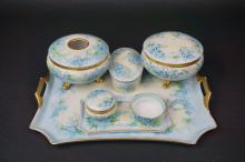 (7) ANTIQUE PORCELAIN DRESSER ITEMS