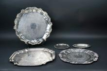 (5) VINTAGE SILVER PLATE TRAYS