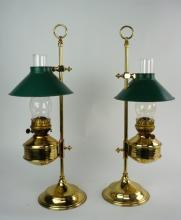 PAIR OF VINTAGE ADJUSTABLE BRASS ALADDIN LAMPS