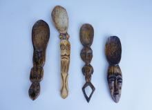 (4) ASSORTED AFRICAN CARVED BONE SPOONS