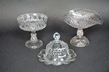 3pcs ASSORTED EARLY PRESSED GLASS