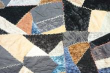 ANTIQUE 1924 HAND STITCHED CRAZY QUILT