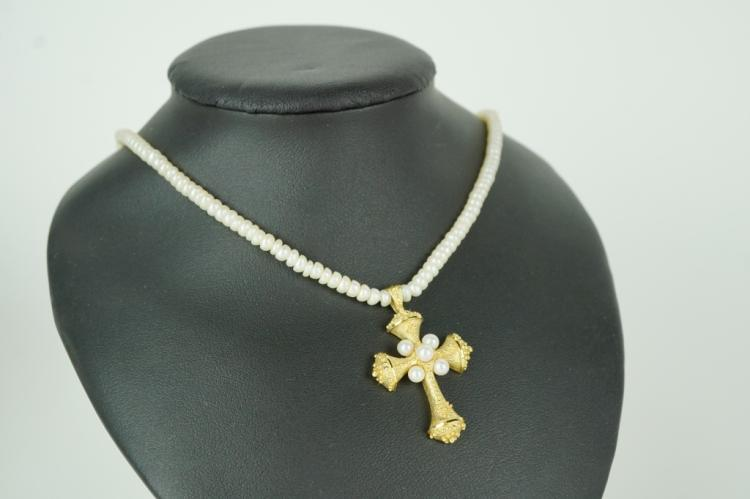 14k gold seed pearl necklace cross pendant aloadofball Gallery