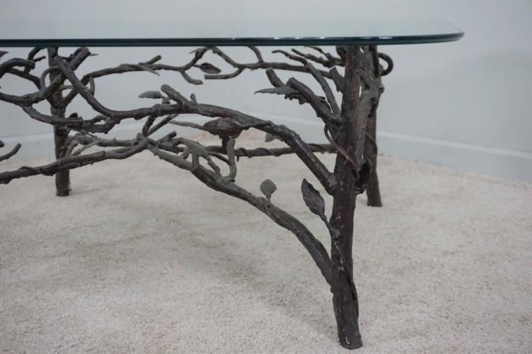 Tree Branch Form Metal Glass Top Cocktail Table