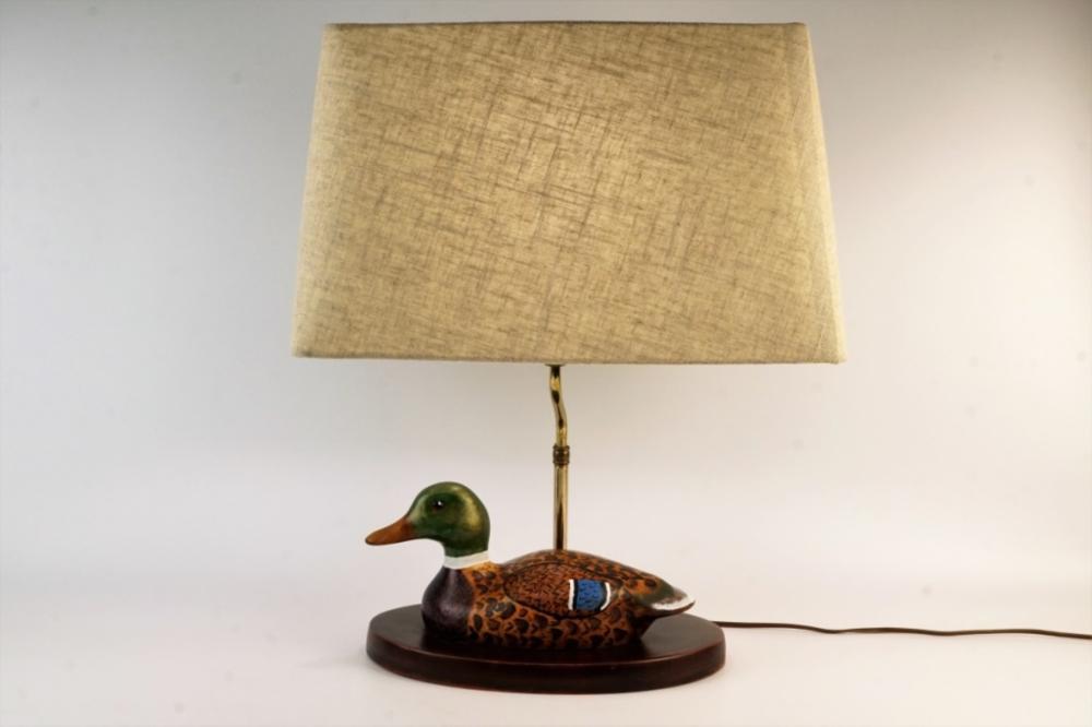 VINTAGE WOODEN MALLARD DUCK TABLE LAMP