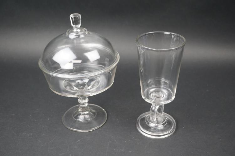 2pcs ASSORTED PRESSED GLASS