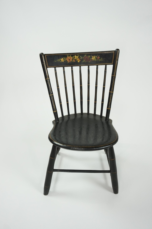 ANTIQUE TOLE PAINTED SIDE CHAIR