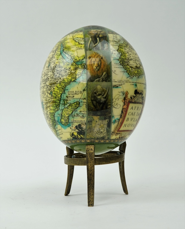 OSTRICH EGG DECOUPAGE GLOBE WITH STAND