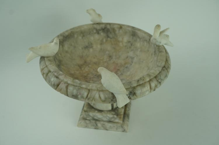 VINTAGE CARVED ALABASTER BIRD BATH