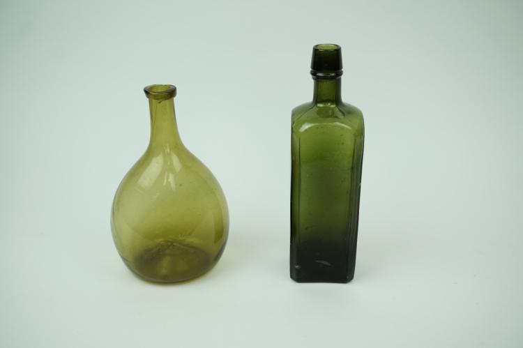(2) ANTIQUE GREEN GLASS BOTTLES