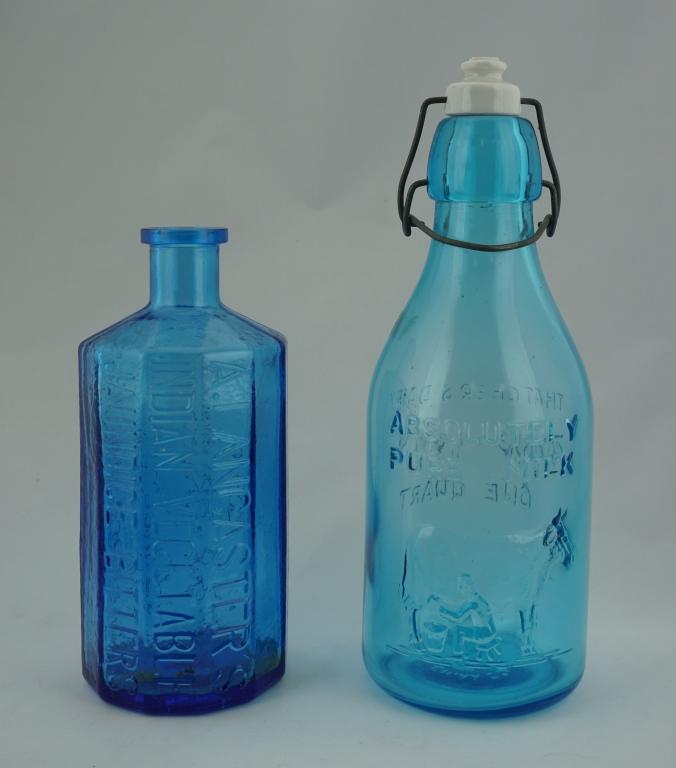 (2) REPRODUCTION BLUE & AQUA GLASS BOTTLES