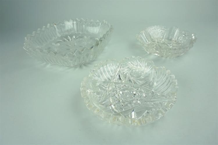 (3) VINTAGE CUT GLASS BOWLS